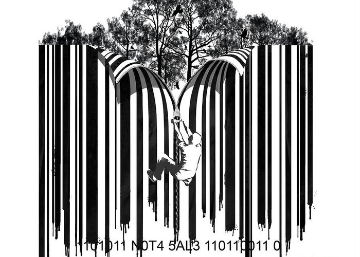 Barcode Graffiti Poster Print Unzip The Code Greeting Card