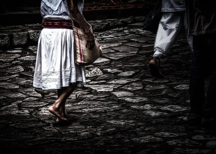 Cuetzalan Greeting Card featuring the photograph Barefoot by Gerardo Borbolla