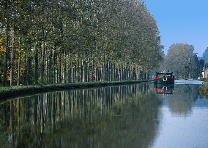 Trees Greeting Card featuring the photograph Barge On Burgandy Canal by Carl Purcell
