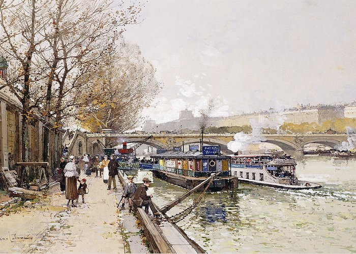 Barge Greeting Card featuring the painting Barges On The Seine by Eugene Galien-Laloue