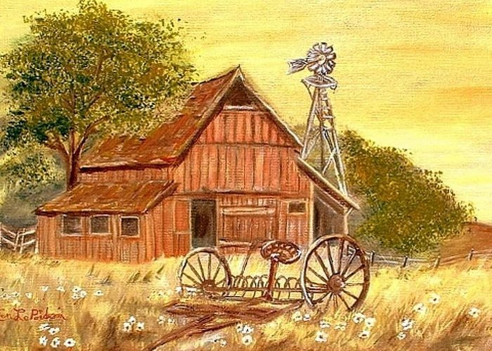 Barn Old Rake Windmill Greeting Card featuring the painting Barn - Windmill - Old Rake by Kenneth LePoidevin
