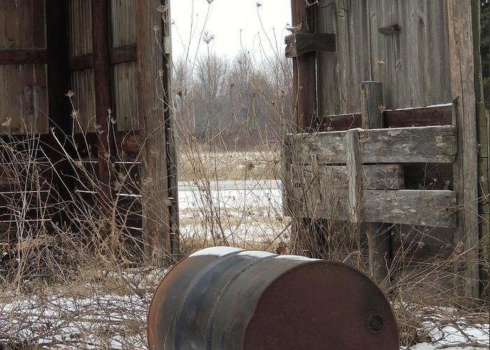 Barn And Rusted Barrel Greeting Cards