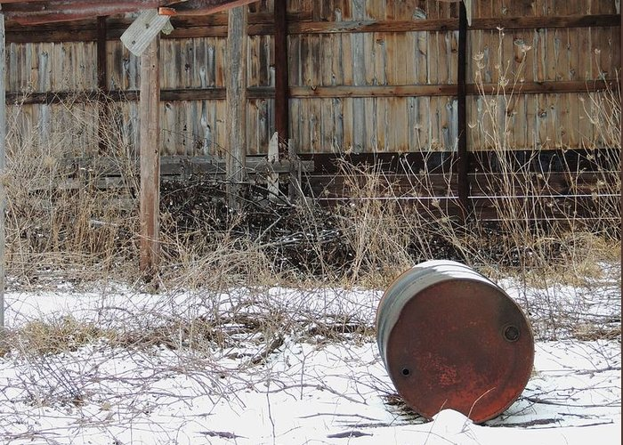 Old Barn And Rusted Barrel Greeting Card featuring the photograph Barn #41 by Todd Sherlock