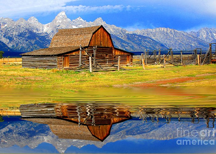 Mountains Greeting Card featuring the photograph Barn And Teton Reflections. by Robert Kleppin