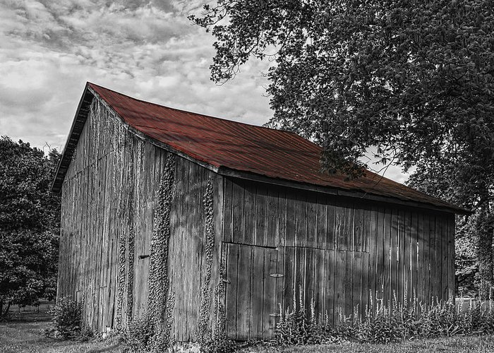 Barn Greeting Card featuring the photograph Barn At Avenel Plantation - Red Roof by Steve Hurt