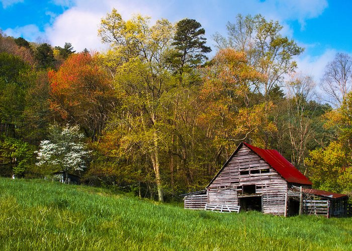 Appalachia Greeting Card featuring the photograph Barn Colors by Debra and Dave Vanderlaan