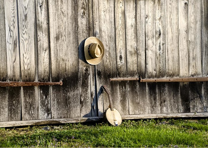 Barn Greeting Card featuring the photograph Barn Door And Banjo Mandolin by Bill Cannon