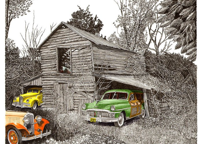 Classic Car Art Greeting Card featuring the painting Barn Finds Classic Cars by Jack Pumphrey