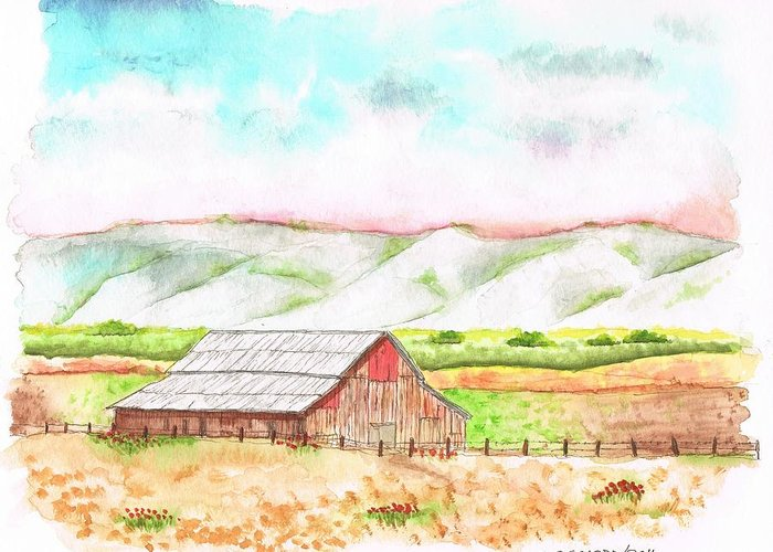 Barn Greeting Card featuring the painting Barn In Cambria - California by Carlos G Groppa