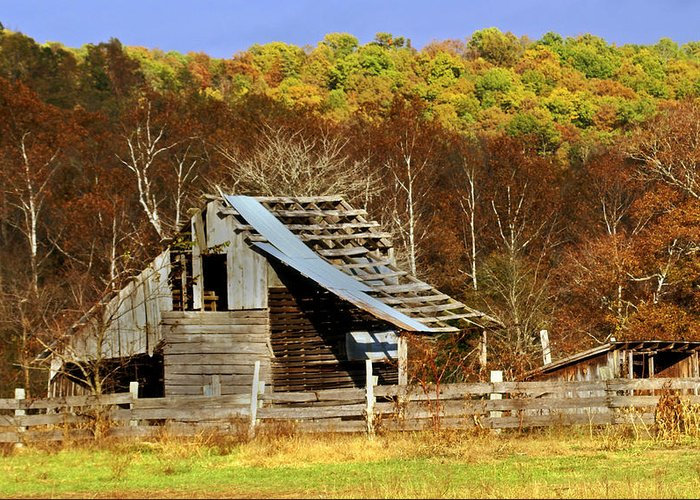 Barn Greeting Card featuring the photograph Barn In Fall by Marty Koch
