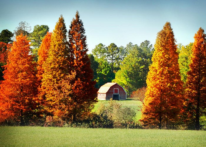 Barn Greeting Card featuring the photograph Barn In Fall by Val Stone Creager