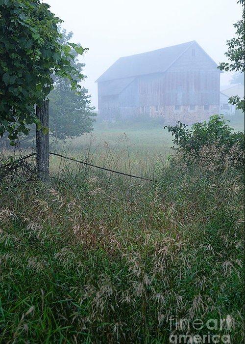 Barn Greeting Card featuring the photograph Barn In Fog by Jill Battaglia