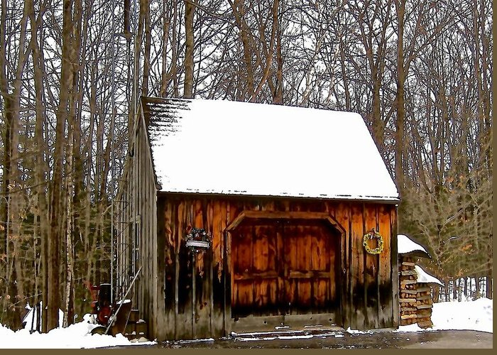 Old Barn Greeting Card featuring the photograph Barn On Great Hill Road by Elizabeth Tillar