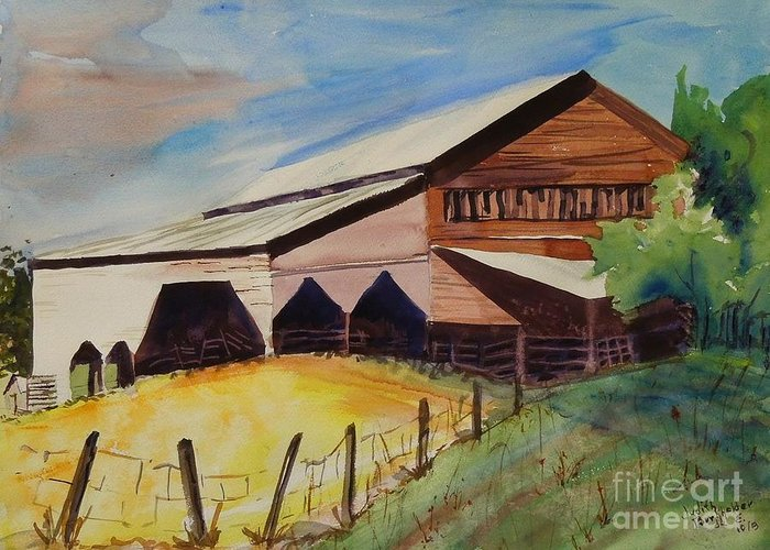 Barn Greeting Card featuring the painting Barn On Rt. 42 by Judith Espinoza