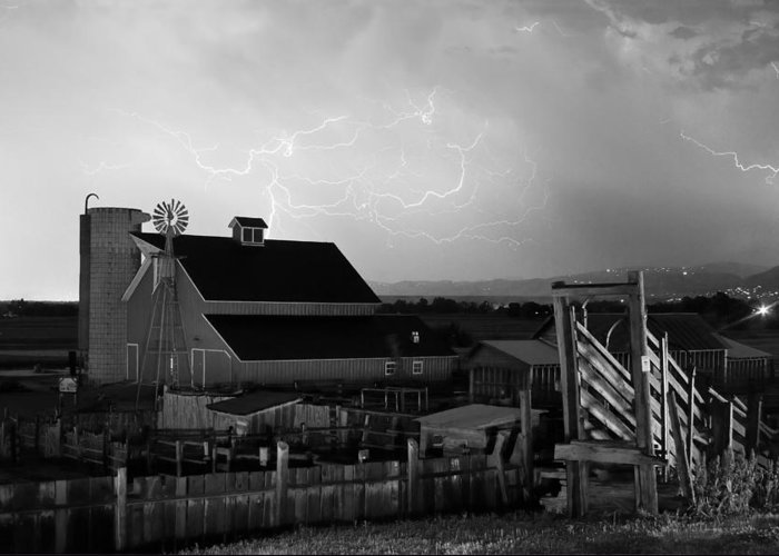 Lightning Greeting Card featuring the photograph Barn On The Farm And Lightning Thunderstorm Bw by James BO Insogna