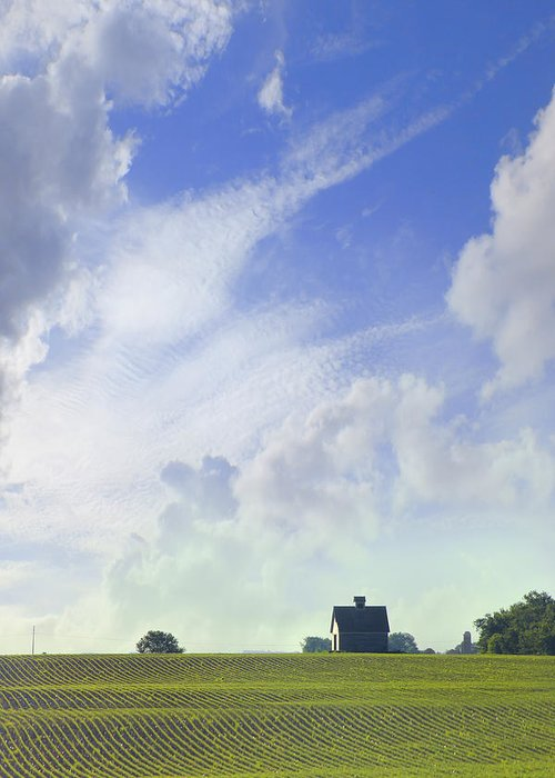 Farm & Barn Greeting Card featuring the photograph Barn On Top Of The Hill by Mike McGlothlen