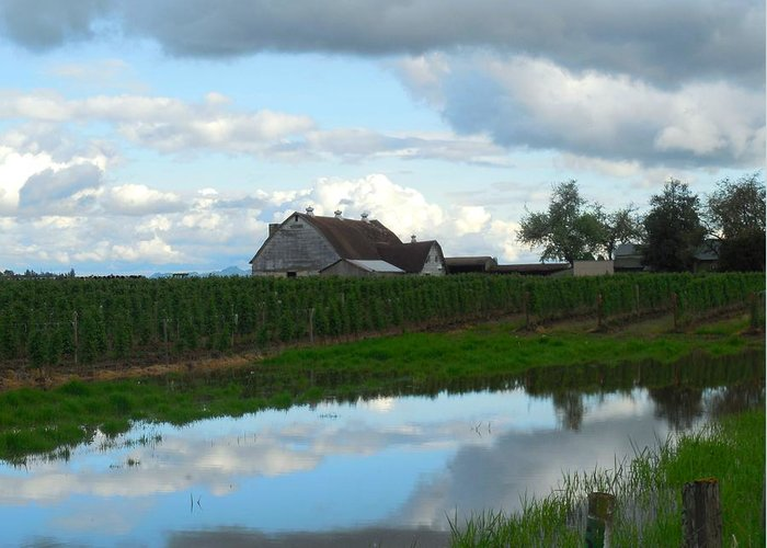 Barn Greeting Card featuring the photograph Barn Reflected In Pond by Karen Molenaar Terrell