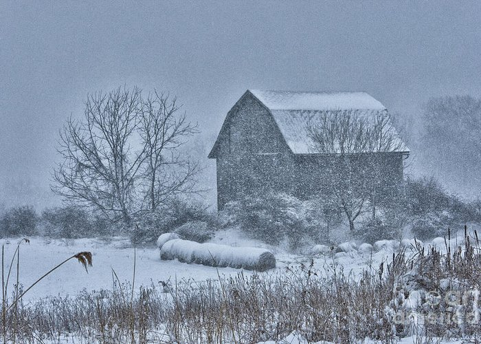 Blizzard Greeting Card featuring the photograph Barn Storm by Roger Bailey