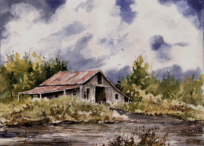 Barn Greeting Card featuring the painting Barn Under Puffy Clouds by Sam Sidders