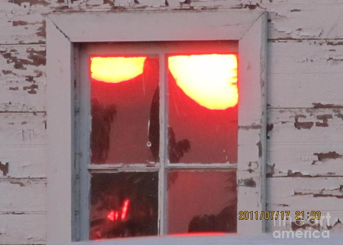 Barn Greeting Card featuring the photograph Barn Window Sunset Up Close by Tina M Wenger