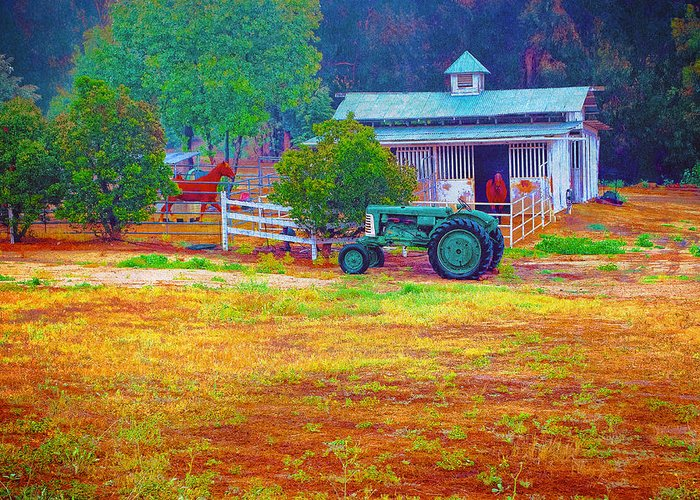 Barn Greeting Card featuring the photograph Barn With Horses And Oliver Tractor by William Havle