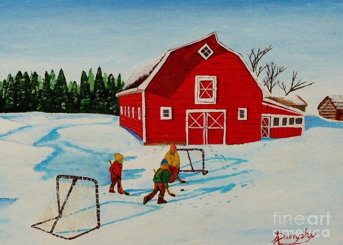 Hockey Greeting Card featuring the painting Barn Yard Hockey by Anthony Dunphy