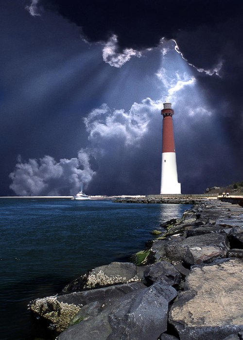 Lighthouse Greeting Card featuring the photograph Barnegat Inlet Lighthouse Nj by Skip Willits