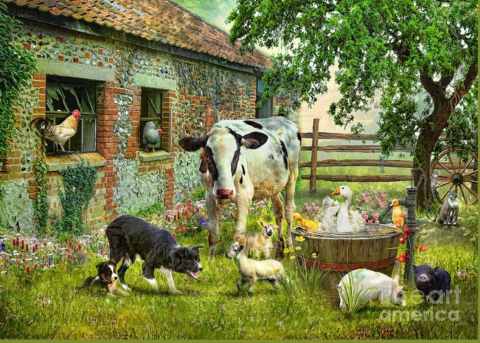 Cow Greeting Card featuring the photograph Barnyard Chatter by Trudi Simmonds