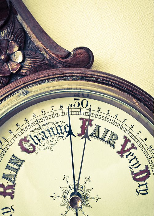 Analyzing Greeting Card featuring the photograph Barometer by Tom Gowanlock