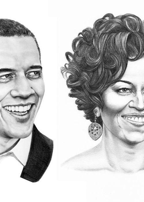 Portrait Greeting Card featuring the drawing Barrack And Michelle Obama by Murphy Elliott