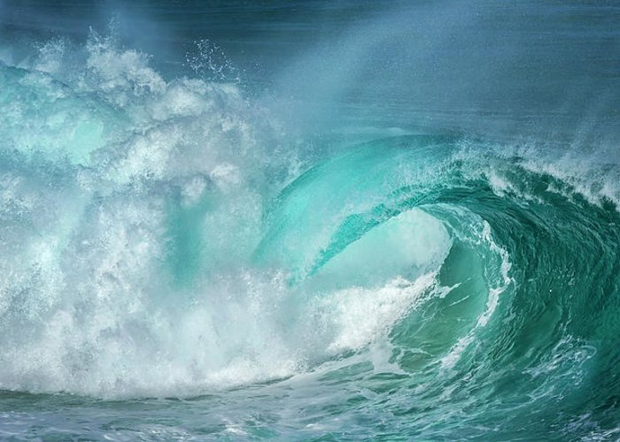 Panoramic Greeting Card featuring the photograph Barrel In The Surf by Simon Phelps Photography