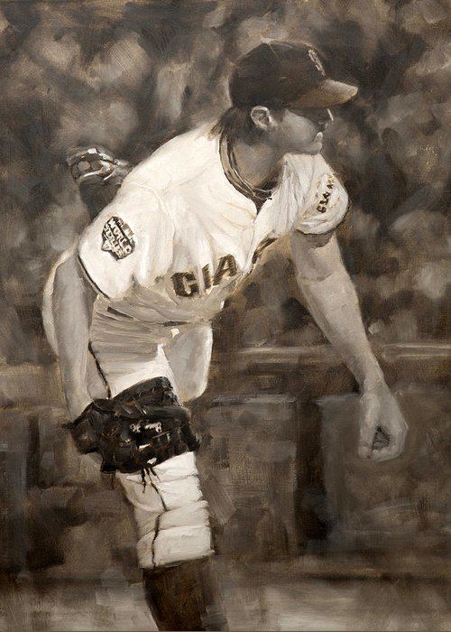 Barry Zito Greeting Card featuring the painting Barry Zito - Redemption by Darren Kerr