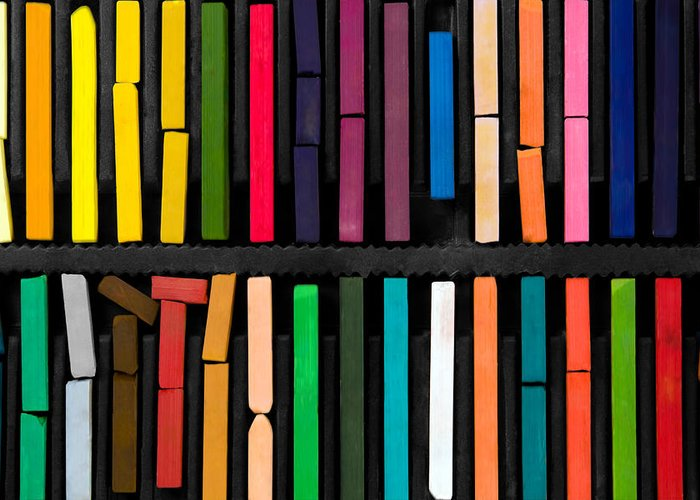 Art Greeting Card featuring the photograph Bars Of Bright And Colorful Pastel On Black Background by Joel Vieira