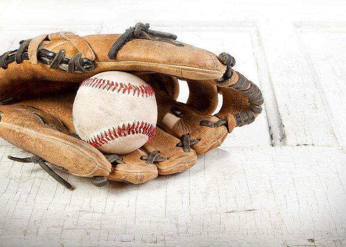 Baseball Greeting Card featuring the photograph Baseball And Mitt by Jennifer Huls