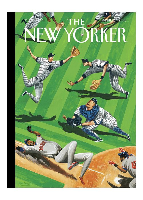 Yankees Greeting Card featuring the painting Baseball Ballet by Mark Ulriksen