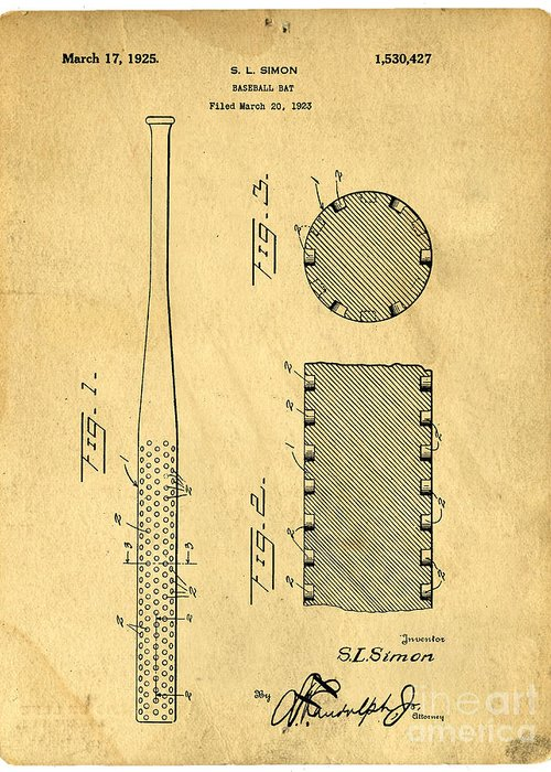 Patent Greeting Card featuring the photograph Baseball Bat Patent by Edward Fielding