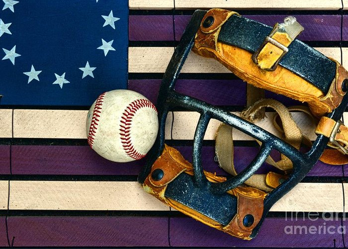 Paul Ward Greeting Card featuring the photograph Baseball Catchers Mask Vintage On American Flag by Paul Ward