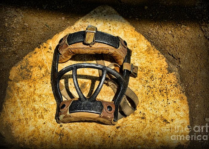 Paul Ward Greeting Card featuring the photograph Baseball Catchers Mask Vintage by Paul Ward