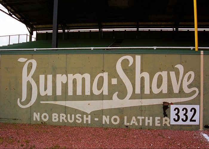 Ad Greeting Card featuring the photograph Baseball Field Burma Shave Sign by Frank Romeo