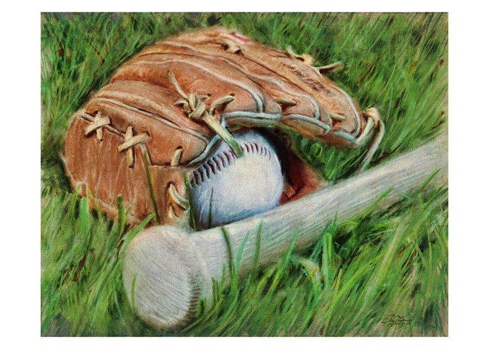 Sports Greeting Card featuring the digital art Baseball Glove Bat And Ball by Craig Tinder