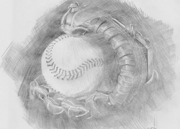 Pencil Greeting Card featuring the drawing Baseball Glove by Michele Engling