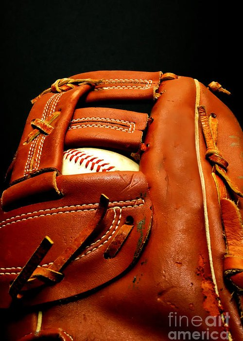 Baseball Glove Greeting Card featuring the photograph Baseball Glove With Ball by Danny Hooks