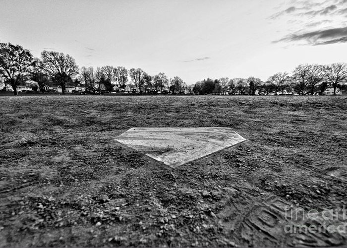 Paul Ward Greeting Card featuring the photograph Baseball - Home Plate - Black And White by Paul Ward