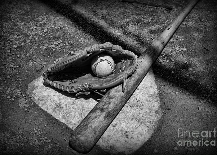 Paul Ward Greeting Card featuring the photograph Baseball Home Plate In Black And White by Paul Ward