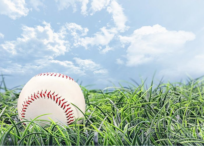 Baseball Greeting Card featuring the photograph Baseball In Grass by Stephanie Frey