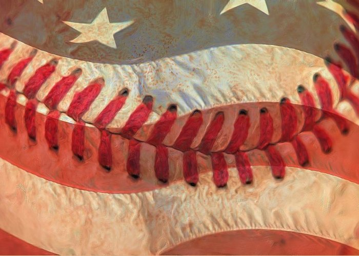 America Greeting Card featuring the photograph Baseball Is Sewn Into The Fabric by Heidi Smith