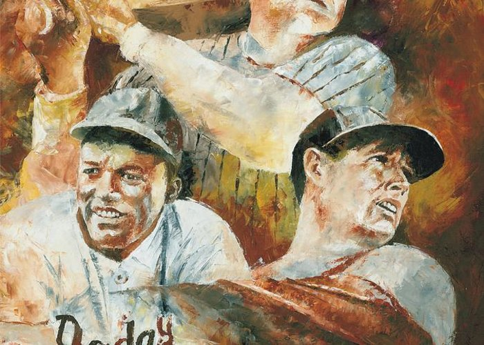 Sports Greeting Card featuring the painting Baseball Legends Babe Ruth Jackie Robinson And Ted Williams by Christiaan Bekker