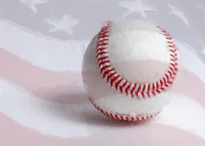 America Greeting Card featuring the digital art Baseball - Painterly by Heidi Smith