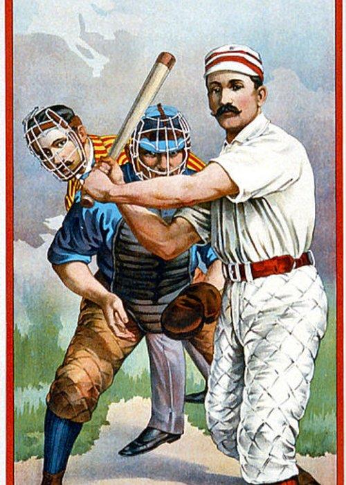 Baseball Player At Bat Greeting Card featuring the digital art Baseball Player At Bat by Unknown