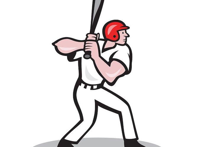 Baseball Greeting Card featuring the digital art Baseball Player Batting Side Cartoon by Aloysius Patrimonio